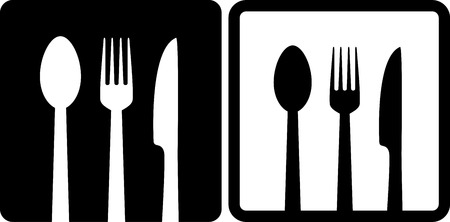 black restaurant icons with fork, spoon and knife Vector