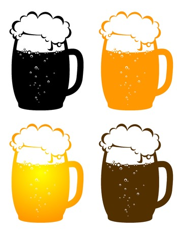 glassware: colorful beer mugs with bubbles on white background