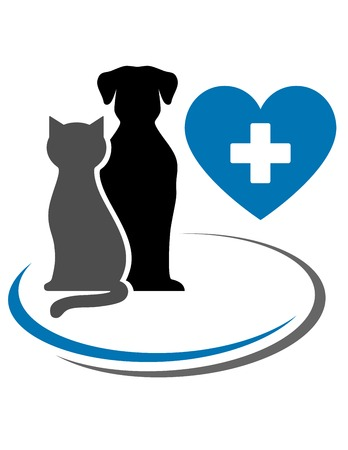 dog, cat, blue heart with cross and decorative lines Иллюстрация