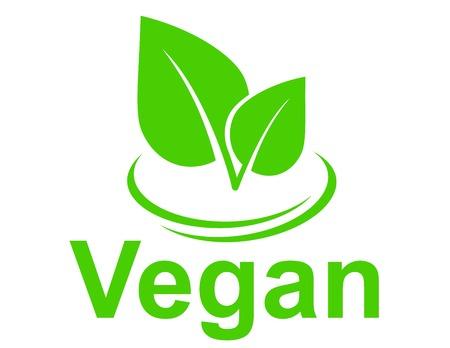 白い背景の上の葉を持つ緑色の菜食主義の記号  イラスト・ベクター素材