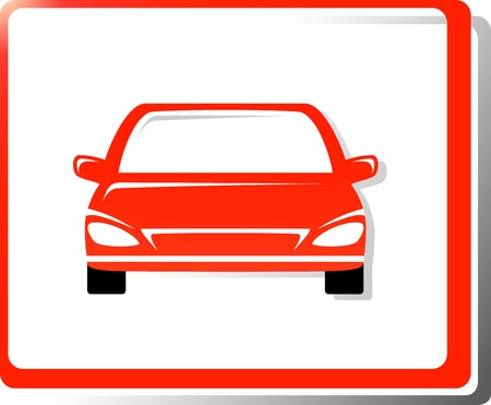 red modern car silhouette in frame Vector
