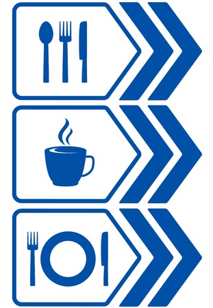 road food sign with arrow and utensil silhouette Vector