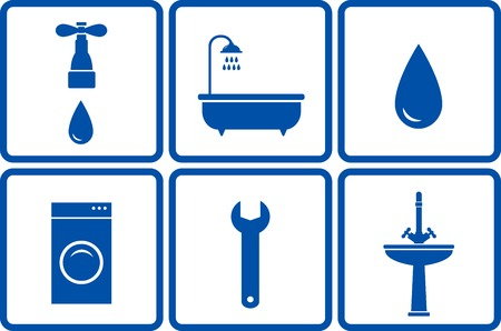 sanitary engineering: set of blue isolated bath objects in frame Illustration