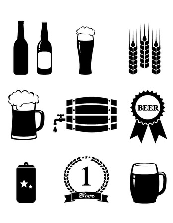 set of isolated beer icons on white background Vector