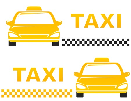 yellow cab: two business cards with taxi on white background