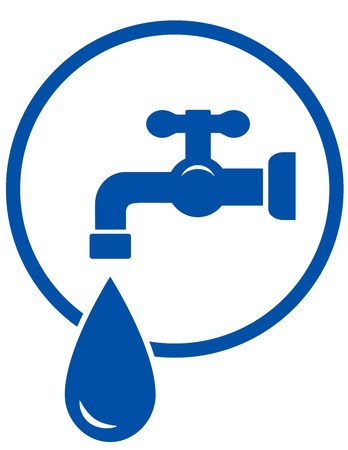 blue sign with faucet and water drop Vector