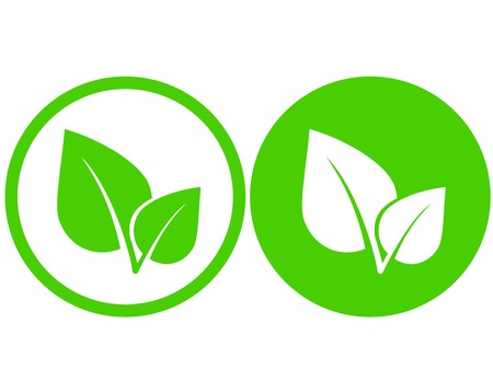 set with green leaf icons in round frame Illustration