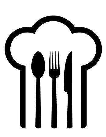 restaurant sign with chef hat and fork, spoon and knife Vector