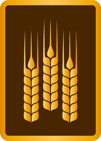 oat field: brown sign with golden wheat ears in frame Illustration