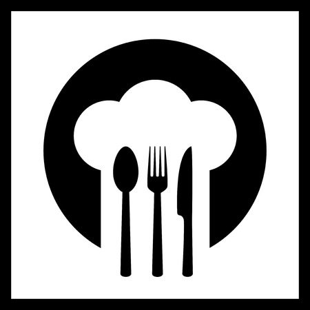 fork in the road: black icon with chef hat in frame