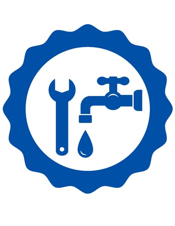 blue plumbing icon with tap and wrench Vector