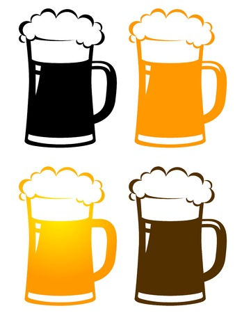 set of colorful isolated beer mugs with foam on white background Illustration