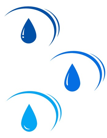 water sanitation: set with blue water drops with design elements