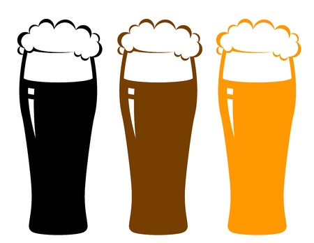 colorful beer glasses with foam and reflection on white background photo