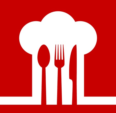 restaurant icon with chef hat on red background Vector