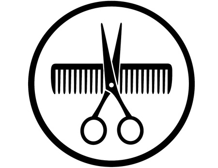 black round sign with scissors and comb silhouette