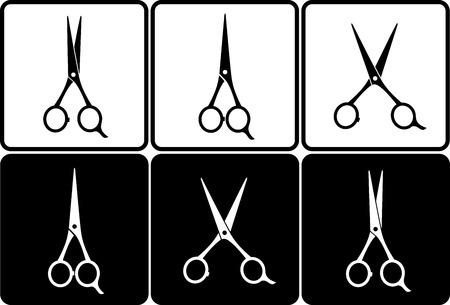 hairstyling: scissors set on black and white background