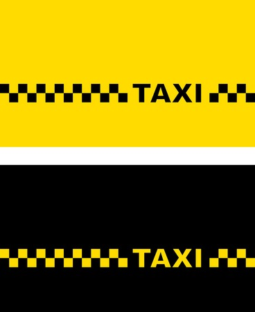 set with yellow and black taxi business card Illustration