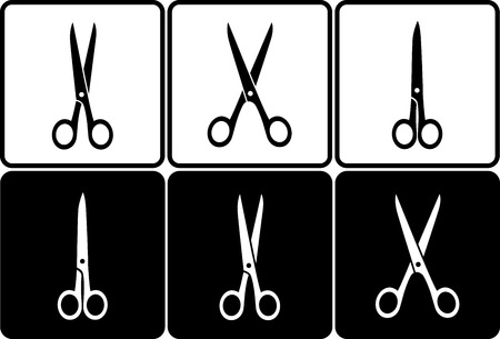 set of black and white scissors icons in frame Vector