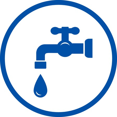 blue plumbing round icon with faucet and drop in frame Vector