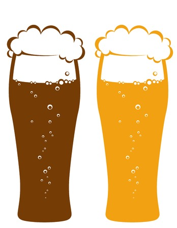 light and dark beer glasses on white background Vector