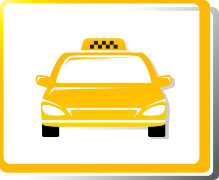 taxi car image on white background in frame Vector