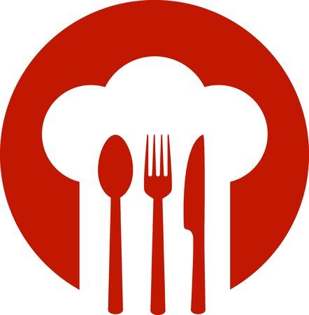 gorro chef: cartel rojo con el sombrero del cocinero y la cuchara, tenedor, cuchillo Vectores