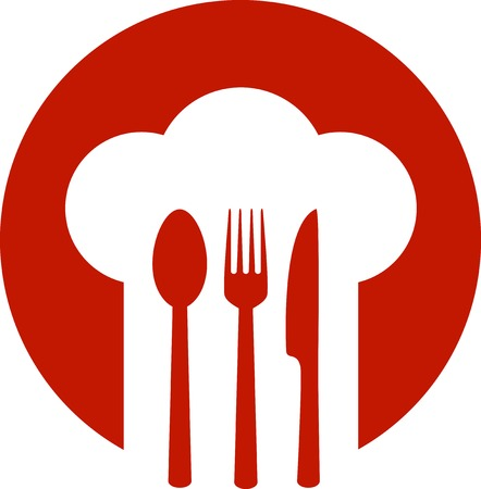 rood teken: rood bord met chef-kok hoed en lepel, vork, mes