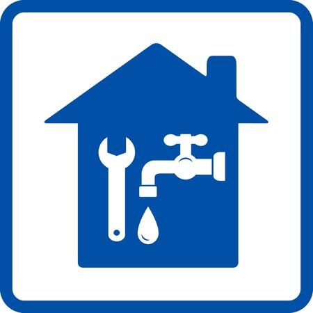 fontaneria: signo de plomer�a con casa, toque y llave inglesa en el marco de