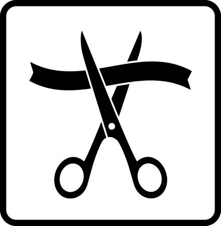 taglio del nastro: forbici che tagliano nastro nero in cornice su sfondo bianco
