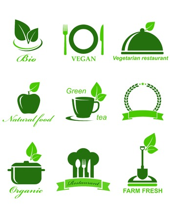 set of green vegetarian food icons on white background Vector