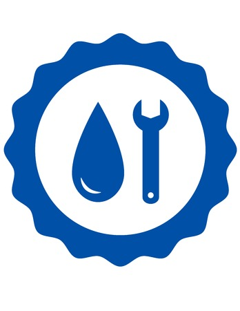 blue repair symbol of plumbing with water drop and wrench Vector