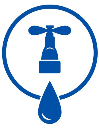 potable: blue round symbol with tap and big droplet in frame
