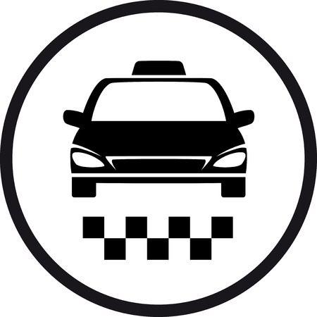 black round taxi sign in frame Vector