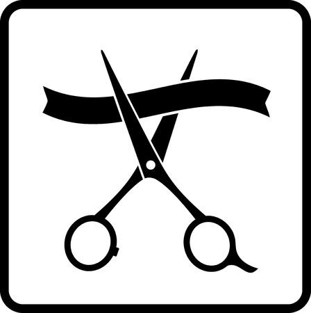 ruban noir: ciseaux de coupe et ruban noir dans le cadre
