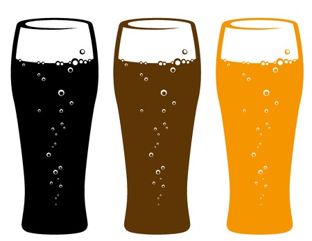 pint glass: set of colorful beer glasses with bubbles on white background Illustration