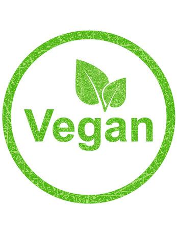 Sello vegetariano verde con textura grunge y de la hoja Foto de archivo - 27708594