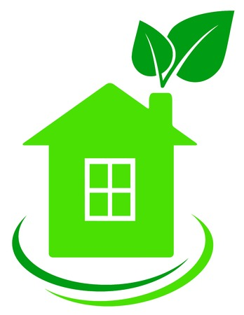 ecological house with green leaves and decorative lines Vector