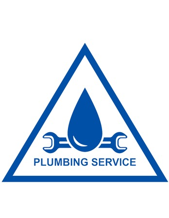 blue symbol of plumbing service with wrench and drip Vector