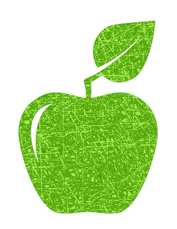 green texture apple on white background Vector