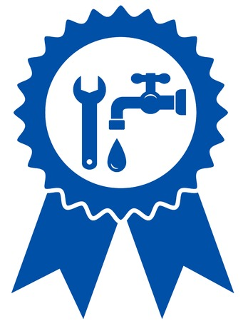 pipe wrench: round icon with plumbing wrench, tap and water drop
