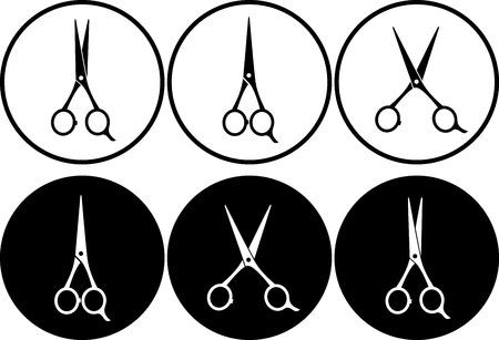 set of black and white scissors in frame