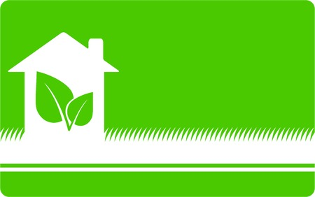 green eco background with house, leaf and place for text Vector