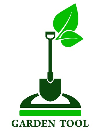 landscape gardener: green garden tools icon with shovel and leaf