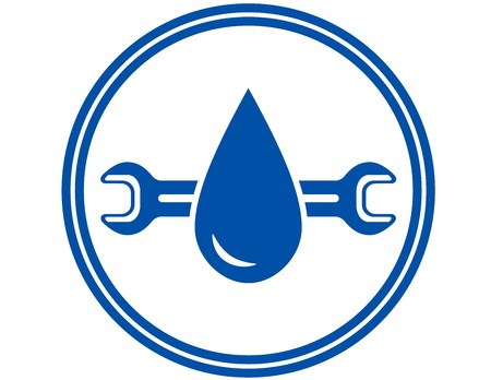 blue plumbing round icon with water drop and wrench Illustration