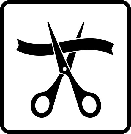 metal cutting: sign with scissors cutting ribbon in frame on white background Illustration