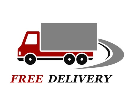 truck on highway: red delivery truck with abstract highway on white background
