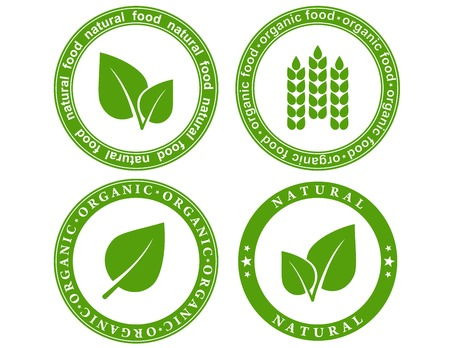 green set of natural food seal with leaf and decorative elements Vector