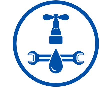 round abstract icon of plumbing service in blue frame Vector