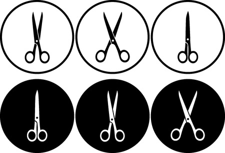 hair cutting: scissors set in frame on black and white background